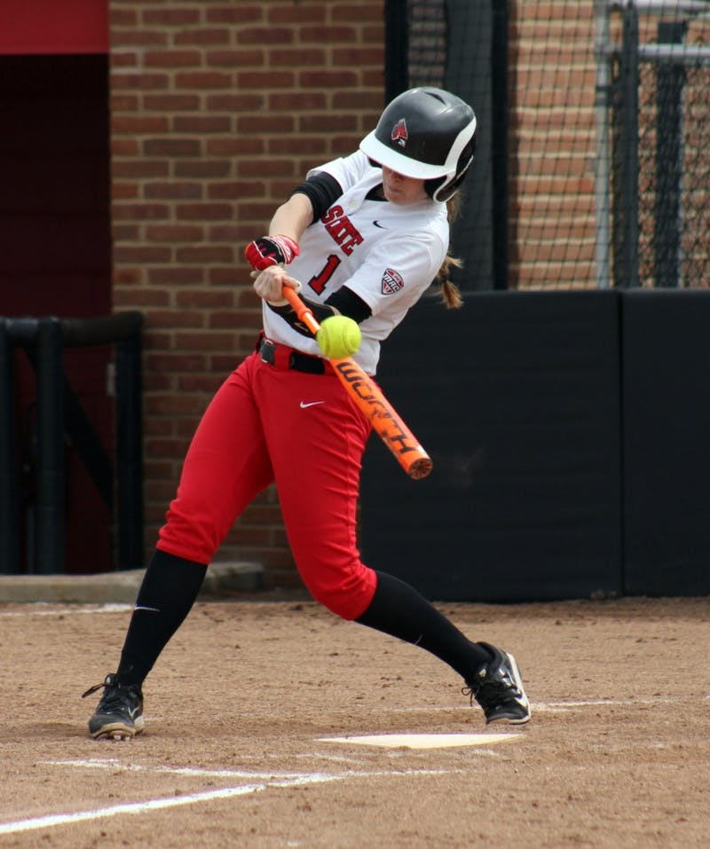 Sophomore catcher Leigh McAnally attempts to hit the ball in the game against Central Michigan on Friday, April 22, 2016 at the Varsity Softball Complex. DN PHOTO ALLYE CLAYTON