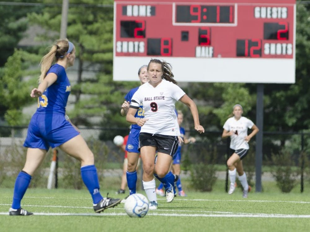 Senior forward Nicole Pembleton runs after the ball during the soccer game against Moorehead State on Aug. 31 at the Briner Sports Complex. DN PHOTO BREANNA DAUGHERTY