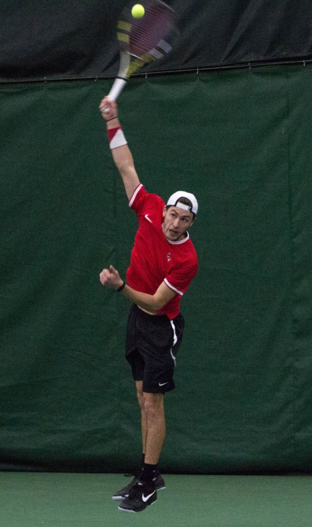Ball State tennis players Conner Andersen and Nemanja Guzina play against Eastern Illinois players Grant and Trent Reiman in the match on Jan. 22 at Muncie's Northwest YMCA. The Cardinals are playing in the Purdue Invitation Sept 15. Grace Ramey, DN File