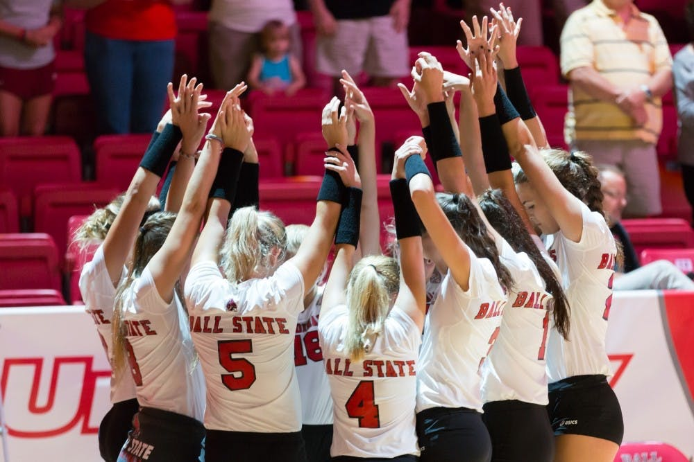 <p>Ball State's women's volleyball team huddle up at the start of game against IUPUI on Aug. 31, 2016 at John E. Worthen Arena. Kyle Crawford // DN File<br> </p>