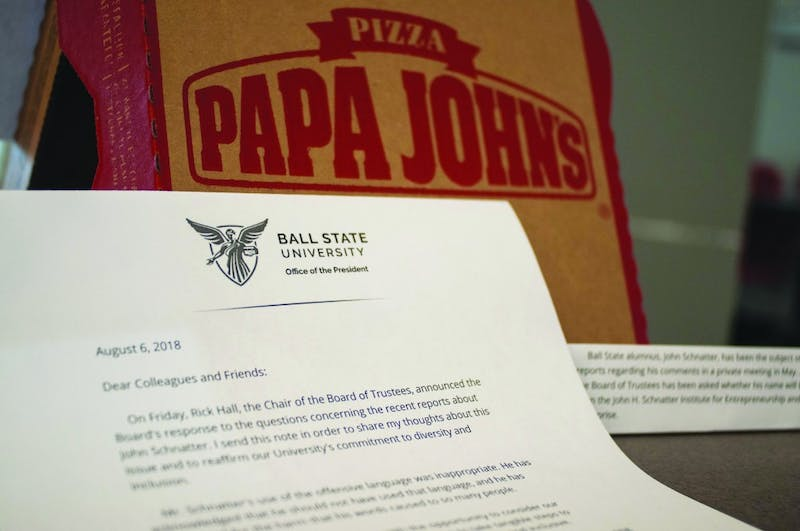A photo illustration depicting Ball State's Board of Trustee decision to remove John Schnatter's name from associating with the university. Madeline Grosh, DN