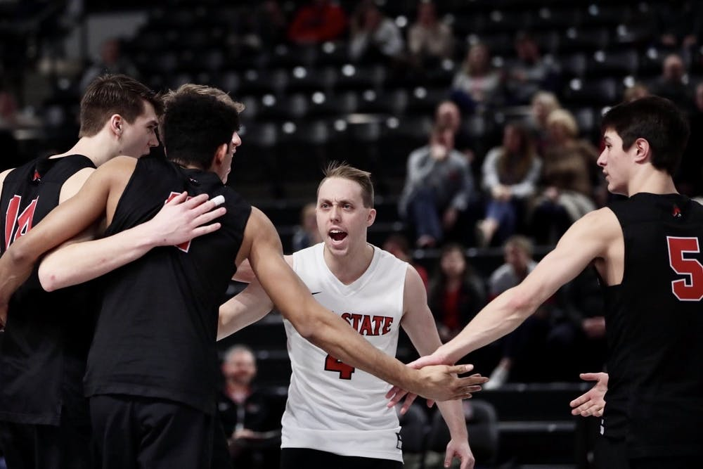 <p>Freshman setter Michael Wright sets the ball March 4, 2020, at the Covelli Center in Columbus, Ohio. The Buckeyes lost 1-3 to the Cardinals. <strong>Jacob Musselman, DN</strong></p>