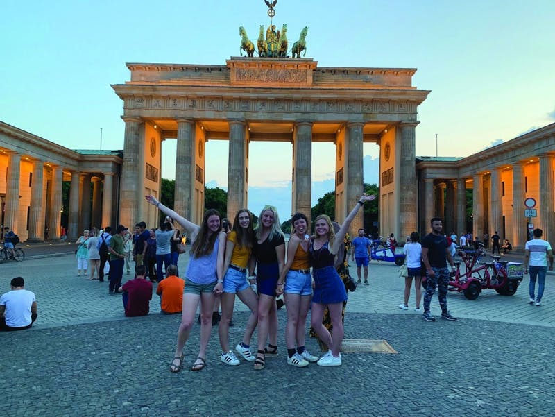 Baer (center) and her roommates visit the Brandenburg Gate in Berlin, Germany during her summer 2019 study abroad trip.  The Brandenburg Gate is now a symbol of European peace and unity. Gwen Baer, Photo Provided