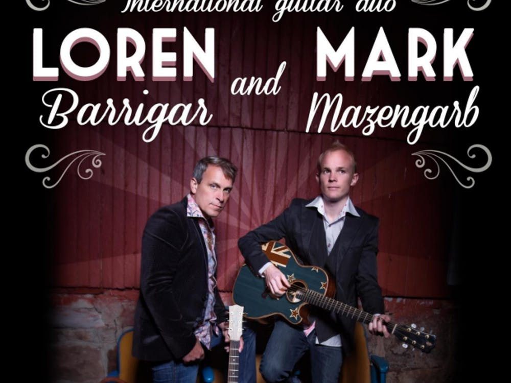 Internationally known acoustic guitarists Loren and Mark will perform at Pruis Hall tonight. They perform a mixture of pop, country, bluegrass and jazz. Loren Barrigar and Mark Mazengarb, Photo Courtesy
