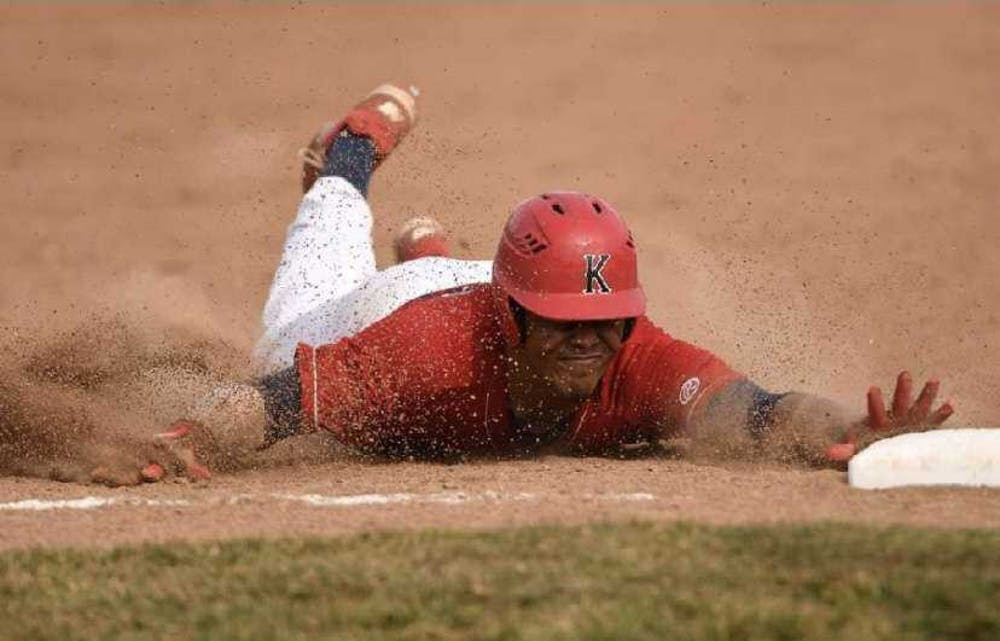 <p>Then-sophomore Jett McGowan dives into third base for a triple March 27, 2019, at Kankakee Community College. McGowan had two hits in the Cavaliers' 10-8 victory. <strong>Jett McGowan, Photo Provided</strong></p>