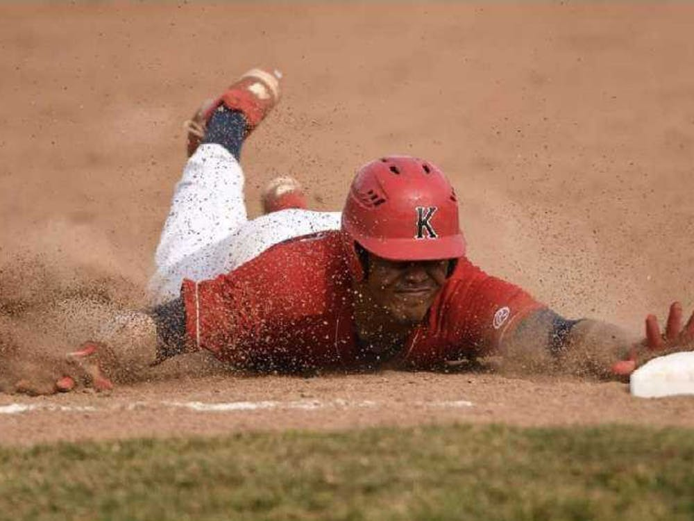 Then-sophomore Jett McGowan dives into third base for a triple March 27, 2019, at Kankakee Community College. McGowan had two hits in the Cavaliers' 10-8 victory. Jett McGowan, Photo Provided