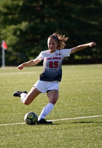 Senior Defender Yela Ziswiler kicks the ball during the second half of the game Thursday, Aug. 28, 2019 at Briner Sports Complex.  Ball State Woman's soccer team defeated Illinois State University 1-0. Rebecca Slezak, DN