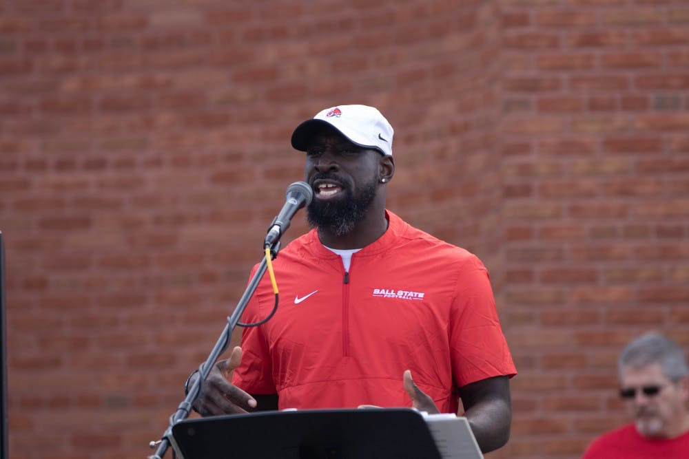 <p>Former Ball State Football player Wendell Brown speaks in Charlietown outside Scheumann Stadium Oct. 19, 2019. Brown started 28 of 47 games during his Ball State career, missing his senior year due to injury.<strong> Jacob Musselman, DN</strong></p>