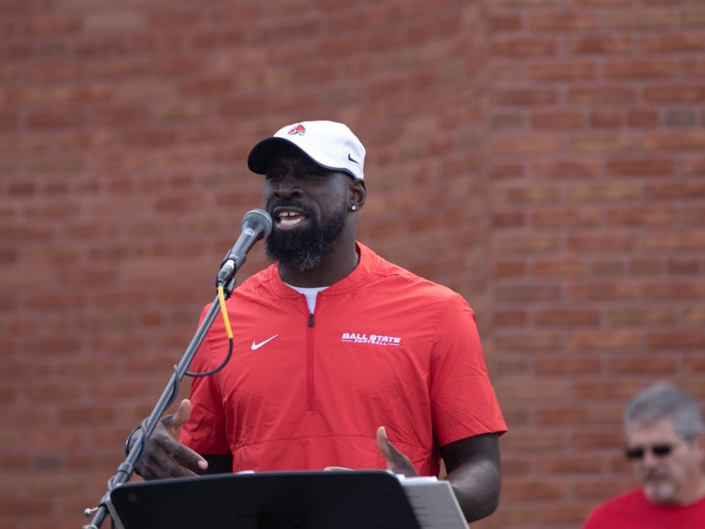 Former Ball State Football player Wendell Brown speaks in Charlietown outside Scheumann Stadium Oct. 19, 2019. Brown started 28 of 47 games during his Ball State career, missing his senior year due to injury. Jacob Musselman, DN