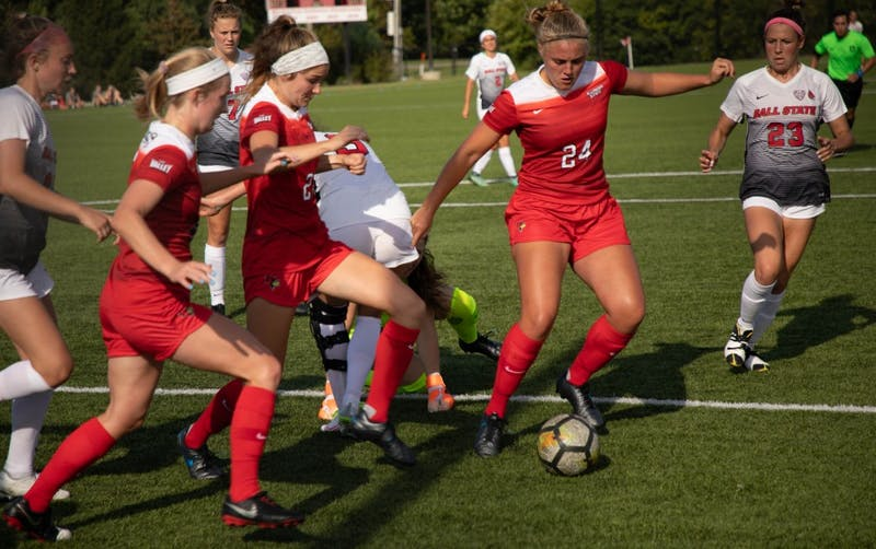 Junior Defender Allissa Ramsden takes possession of the ball after a scramble during the game, Thursday, Aug. 28, 2019 at Briner Sports Complex. Ball State Woman's soccer team defeated Illinois State University 1-0. Rebecca Slezak, DN