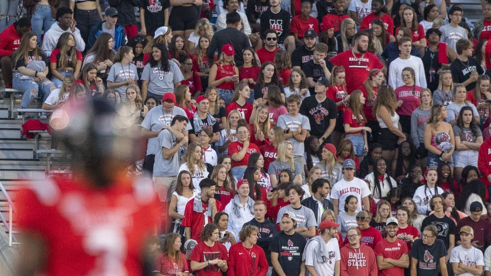 The Ball State student section watches as the Cardinals take on Western Illinois University Sept. 2, 2021, at Scheumann Stadium. The Cardinals beat the Leathernecks 31-21 in their home opener. Jacob Musselman, DN