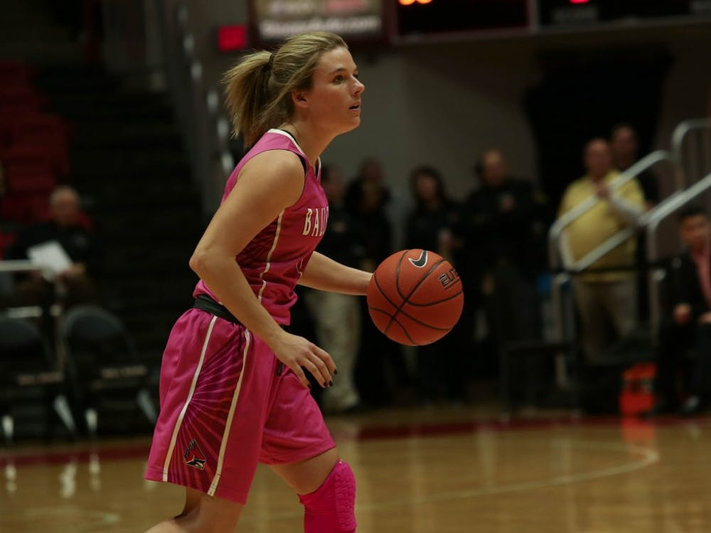 Sophomore guard Katie Helgason runs forward with the ball in the game against Northern Illinois in John E. Worthen Arena Feb. 9, 2019. The Cardinals fell to NIU 93-83. Scott Fleener, DN