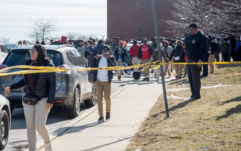 Students at Frederick Douglass High School in Baltimore are evacuated after a 56-year-old staffer was shot inside on February 7, 2019. A study by Jagdish Khubchandani and James Price indicates that school security measures may not be worth the costs schools pay. Ulysses Munoz, TNS PHOTO.