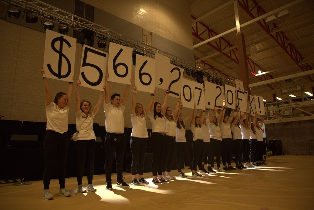 Students hold up signs to reveal the final fundraising amount Feb. 15, 2020, at Jo Ann Gora Recreation Center. The Ball State Dance Marathon event raised $566,207.20 for Riley Children's Hospital. Jaden Whiteman, DN