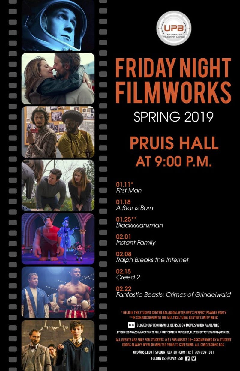 The University Program Board has listed its schedule for the spring 2019 semester. The films will be showed Friday nights at 9 p.m. in Pruis Hall.