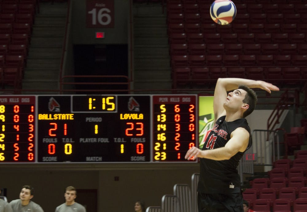 <p>Ball State men's volleyball player Mitch Weiler serves the ball during the first game against Loyola University on Feb. 17 at John E. Worthen Arena. Weiler had 14 kills, three assists, and 12 digs during the four games. <strong>Briana Hale, DN</strong></p>