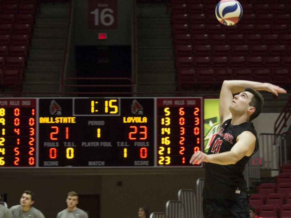 Ball State men's volleyball player Mitch Weiler serves the ball during the first game against Loyola University on Feb. 17 at John E. Worthen Arena. Weiler had 14 kills, three assists, and 12 digs during the four games. Briana Hale, DN