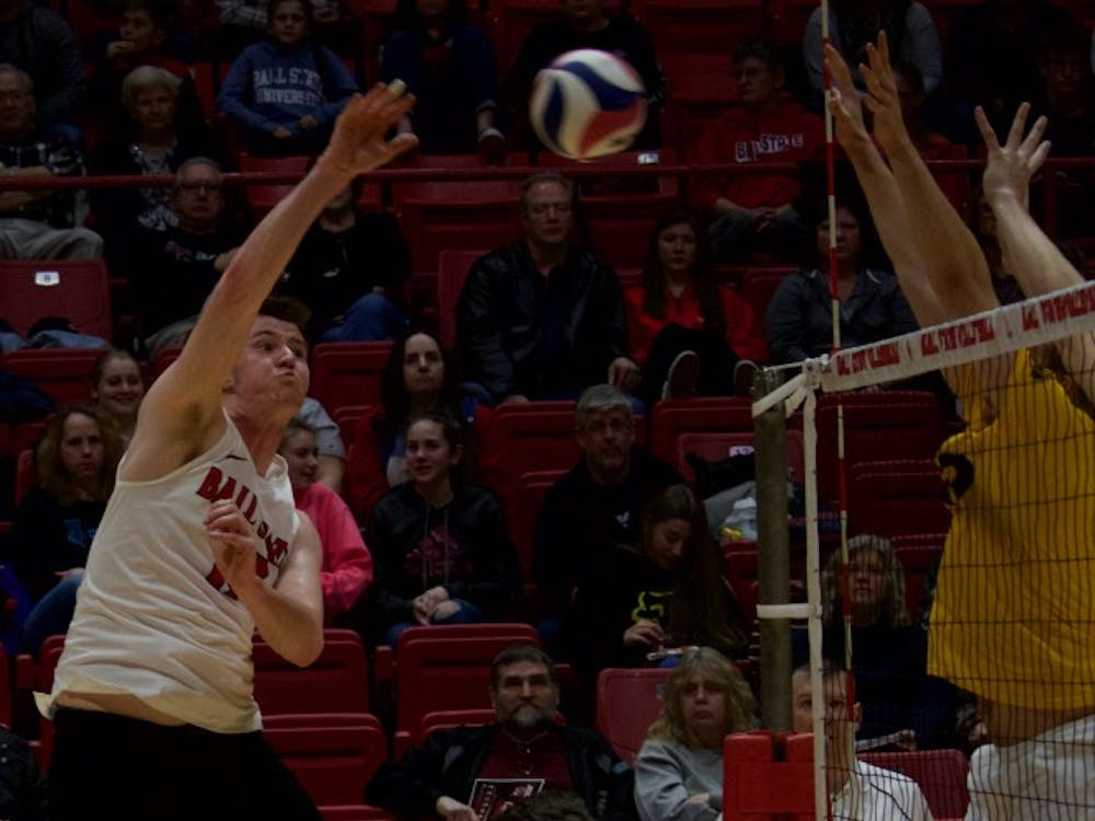 Ball State's mens volleyball team competed against Quincy March 31 in John E. Worthen Arena. The Cardinals won 3-0.