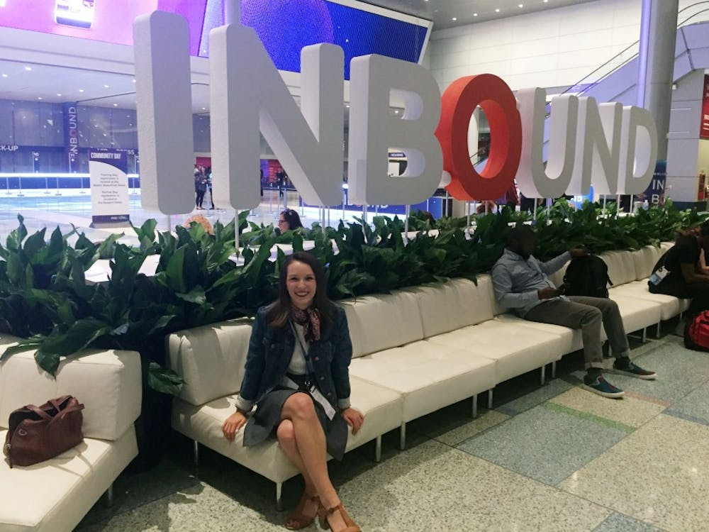 Emily Halley sits at the Hubspot Inbound Conference in September 2017, which she attended for Olympus. She was able to see Michelle Obama and many other leaders during the conference. Emily Halley, Photo Provided