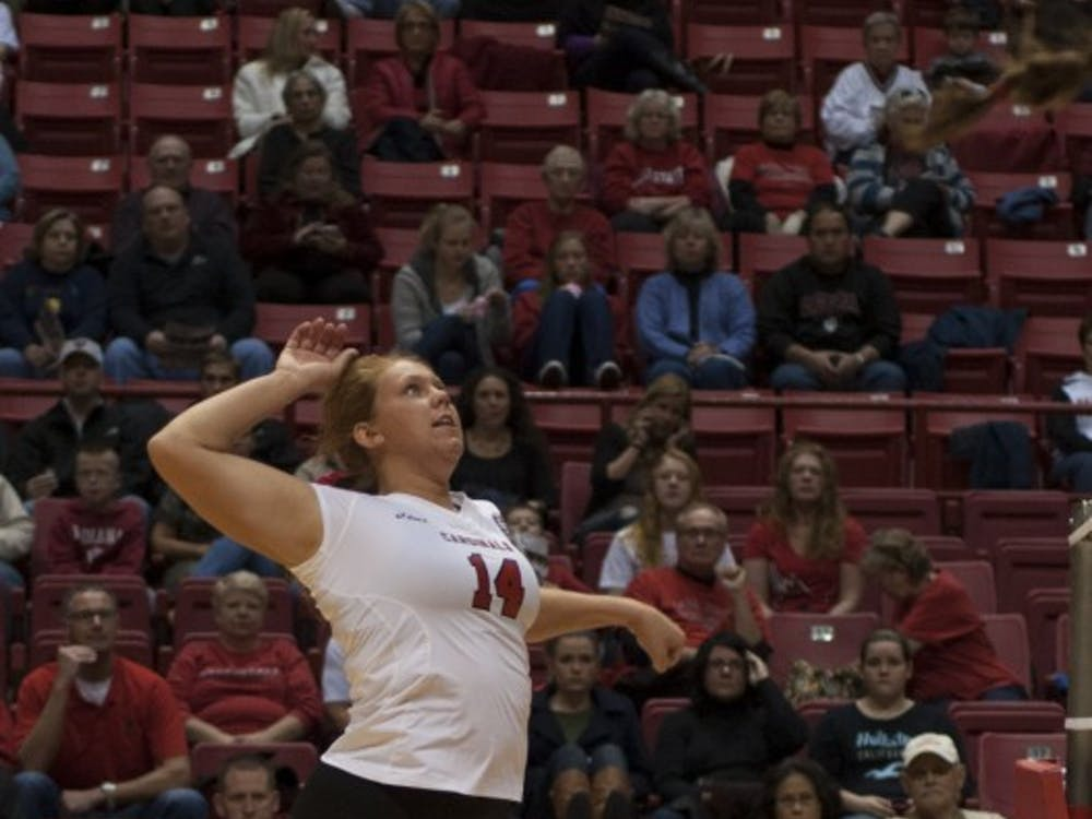 Sophomore middle hitter Kelly Hopkins prepares to hit the ball against Bowling Green State University on Oct. 25 at Worthen Arena. DN PHOTO MATT McKINNEY