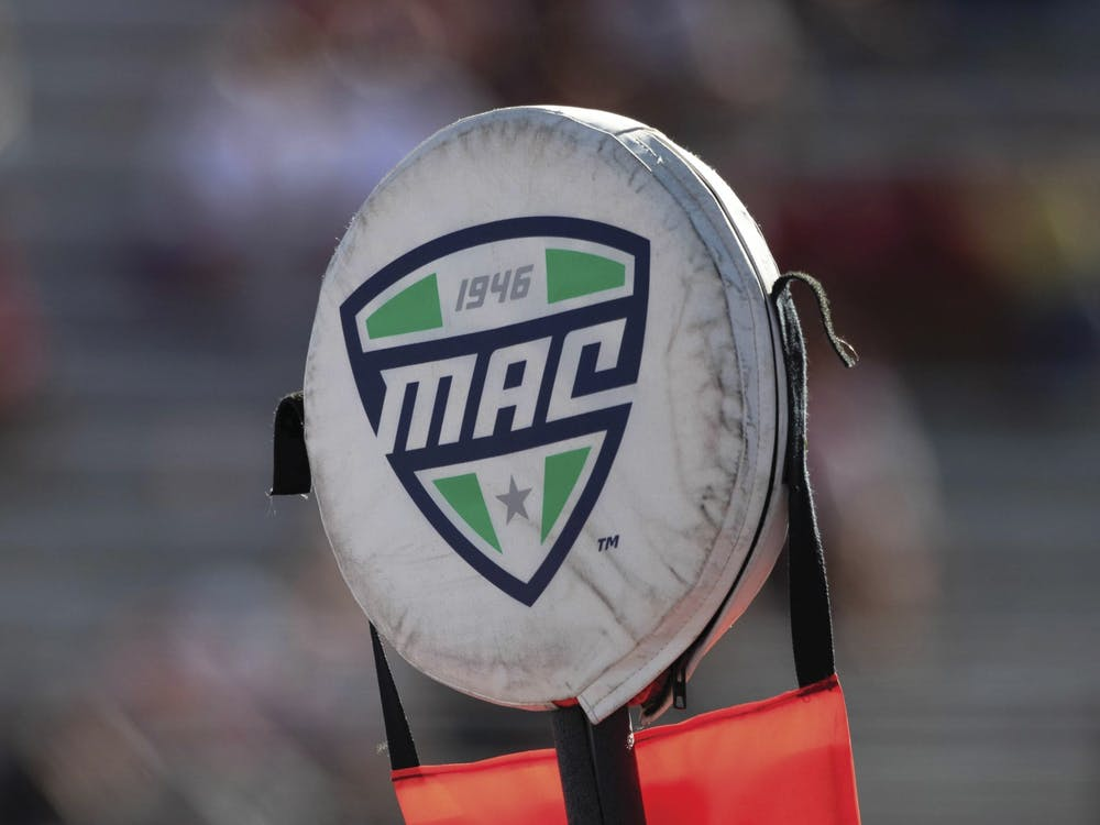 The Mid American Conference first down marker sits on the sideline Sept. 14, 2019, at Scheumann Stadium. The MAC and other college football conferences cancelled their season, only to restart their football seasons. Jacob Musselman, DN