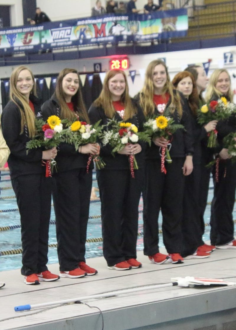 Seven members of Ball State Women's Swim and Dive are recognized during the Mid-American Conference Championships March 2, 2019, in Akron, Ohio. The Cardinals finished in last place. Patrick Murphy, DN