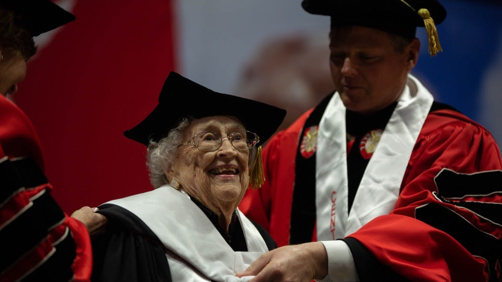 Lucina Ball Moxley receives an honorary Doctor of Arts degree during the spring 2019 commencement May 4, 2019, in John E. Worthen Arena. Moxley, 100, is the granddaughter of William C. Ball, one of the five Ball Brothers who established Ball State. Scott Fleener, DN