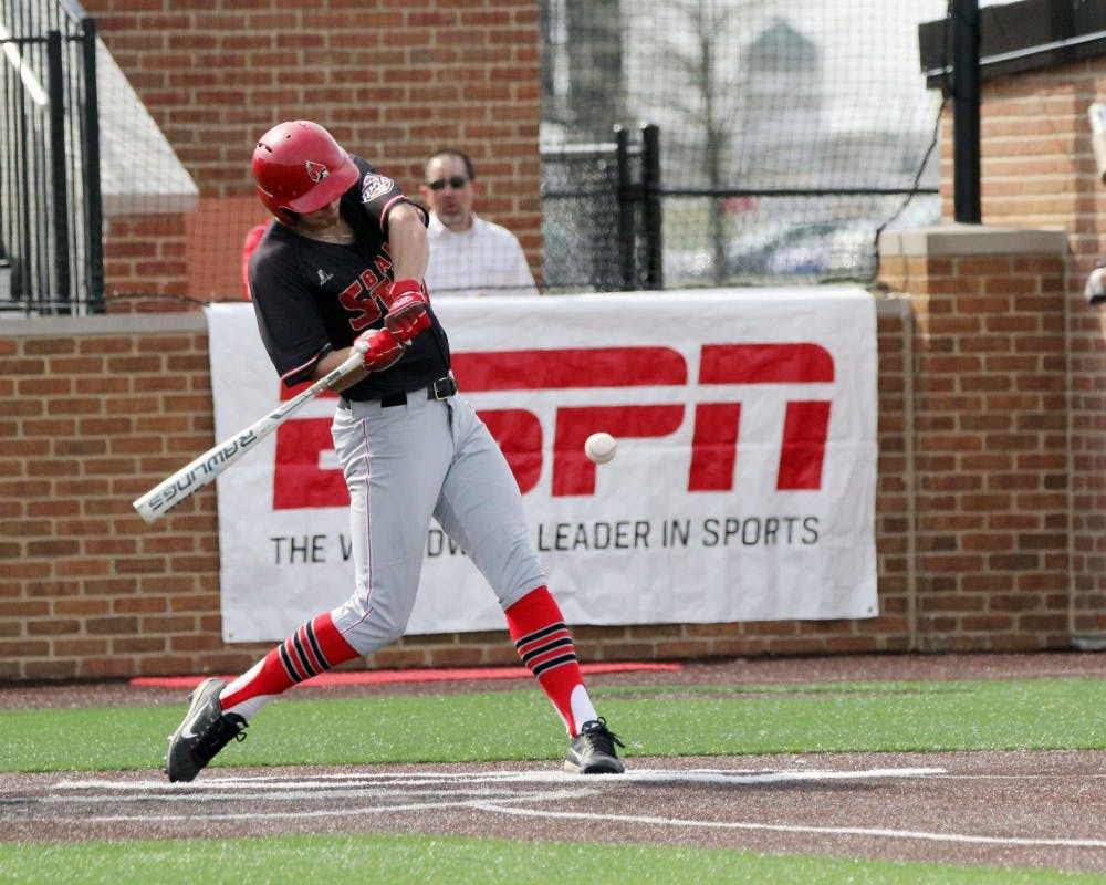 Senior center fielder Matt Eppers leads off the fifth with a single during the Cardinals' game against Bowling Green on April 14 at Ball Diamond at First Merchants Ballpark Complex. Ball State had 12 hits and seven runs. Paige Grider // DN