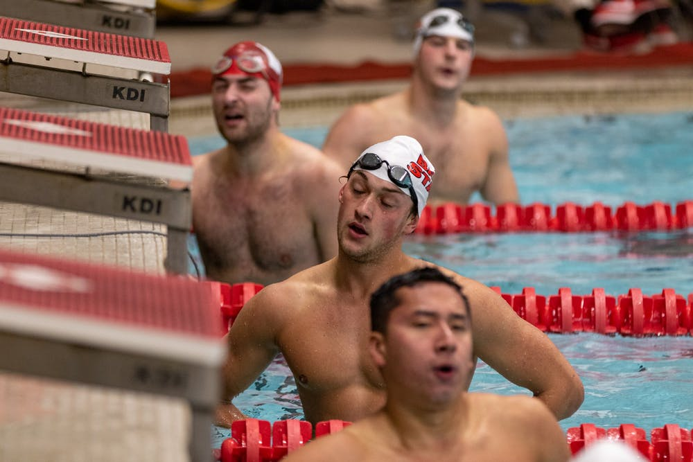 <p>Ball State Sophomore, Ryan Short gathers his breath after finishing the Men's 100-meter butterfly Nov. 2, 2019, at Lewellen Aquatic Center. He finished 3rd in the event out of 6 swimmers. <strong>Paul Kihn, DN</strong></p>