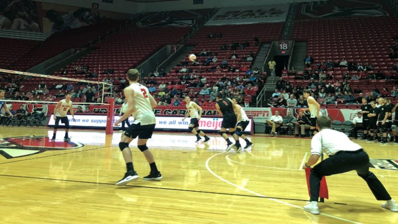 Ball State Men's Volleyball players return a serve during their match against UC Santa Barbara Friday, Jan. 18 in John E. Worthen Arena. The Cardinals fell 3-2 in five sets. Connor Smith, DN