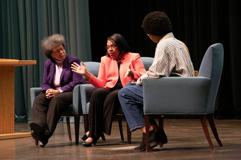 (Left to right) Margaret Weaver, clinical psychologist, and Jennifer Pinckney, widow of South Carolina state Sen. Clementa Pinckney, participate in a Q&A session Feb. 22, 2020, at Emens Auditorium. Pinckney is one of the survivors of the June 2015 mass shooting incident at a church in Charleston, S.C., which killed nine people including her husband. Rohith Rao, DN