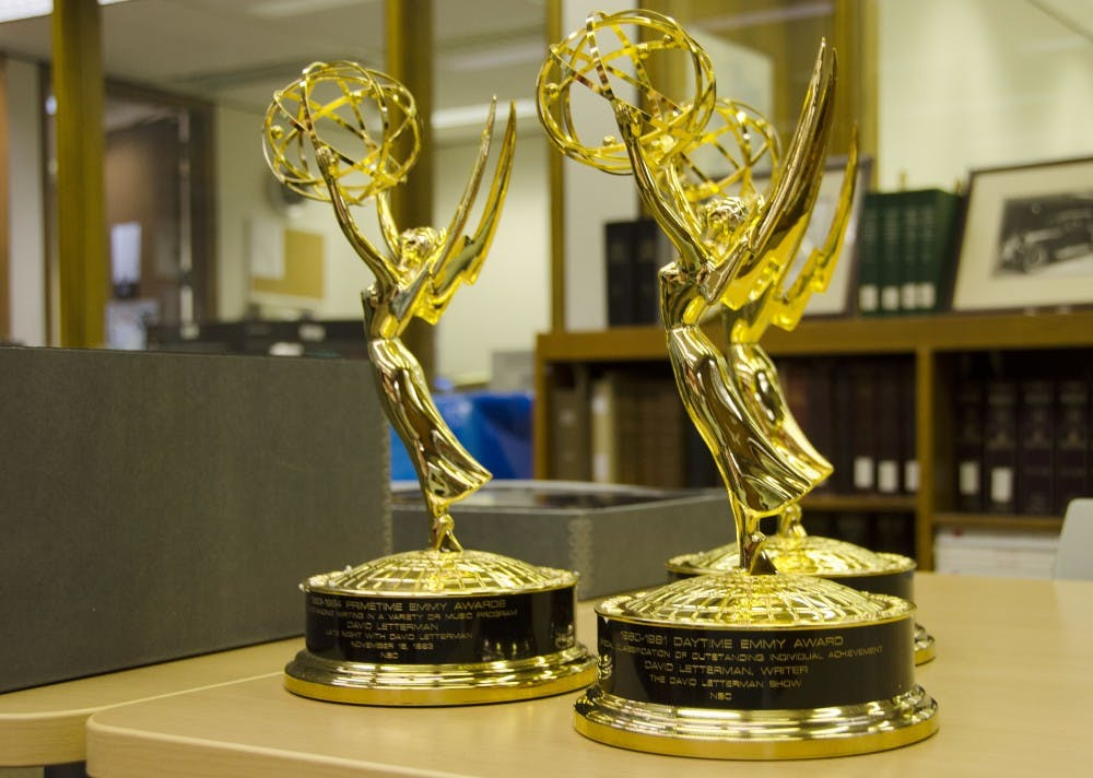 <p>Three of the fifteen Primetime Emmy Awards that David Letterman donated to Ball State University. Ball State is still inventorying and appraising the more than 1,000 items that the late-night celebrity donated. <strong>Robby General, DN</strong></p>