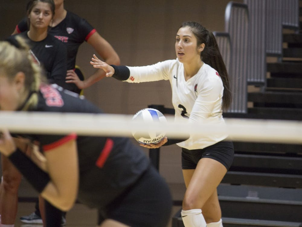Sophomore defense specialist Kate Avila prepares to serve the ball during the second set against Bradley University on Sept. 1, 2017 at John E. Worthen Arena. Ball State won two out of three sets. Briana Hale, DN File