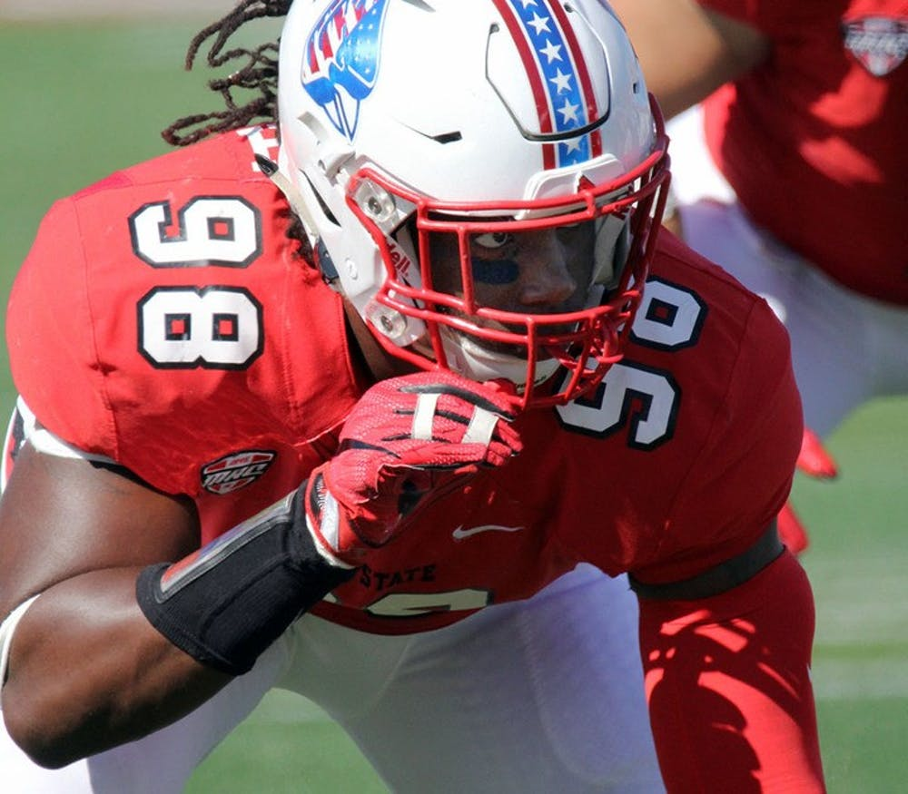 Ball State redshirt senior defensive end Anthony Winbush lines up on the line of scrimmage during the Cardinals' game against UAB on Sept. 9 at Scheumann Stadium. Winbush had three solo tackles. Paige Grider, DN