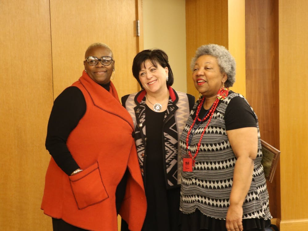 (From left to right) WaTasha Barnes Griffin, chairperson of the MLK Dream Team, Sali Falling, Ball State's vice president and general counsel, and Yvonne Thompson, director of the Muncie Human Rights Office, pose for a photo Feb. 1, 2020, at the Black History Month Kickoff event at Minnetrista. Falling was one of the recipients of the James & Marilyn Carey Community Service Award. Jaden Hasse, DN