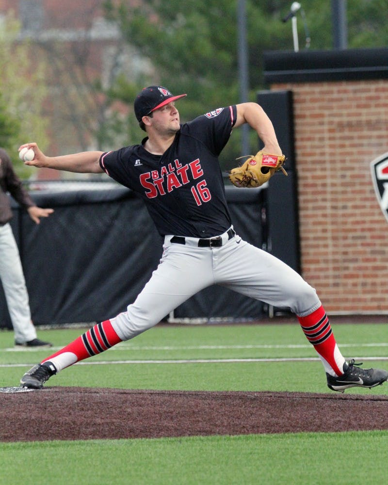 Sophomore pitcher T.J. Baker came in for the Cardinals in the ninth inning during Ball State's game against Bowling Green on April 14 at Ball Diamond at First Merchants Ballpark Complex. Baker was credited with the save. Paige Grider // DN