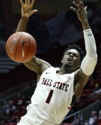 Ball State redshirt junior guard K.J. Walton reacts to getting fouled during the Cardinals' game against Miami University Jan. 22, 2019 in John E. Worthen Arena. Walton scored 16 points. Paige Grider, DN
