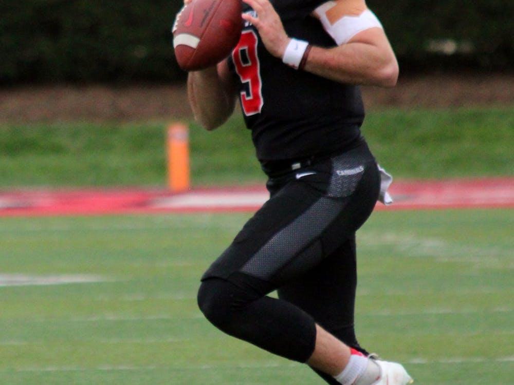 Quarterback Drew Plitt (9) prepares to throw the football against Miami Ohio on Oct. 23, 2021, at Scheumann Stadium in Muncie, IN. Amber Pietz, DN