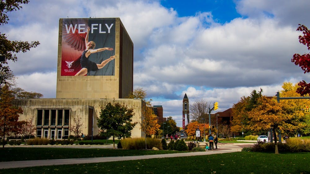 Ball State University announces their new slogan 'We Fly' by hanging banners and handing out apparel on campus Nov. 6, 2017.  The new slogan was a part of celebrating the university's centennial. Eric Pritchett, DN