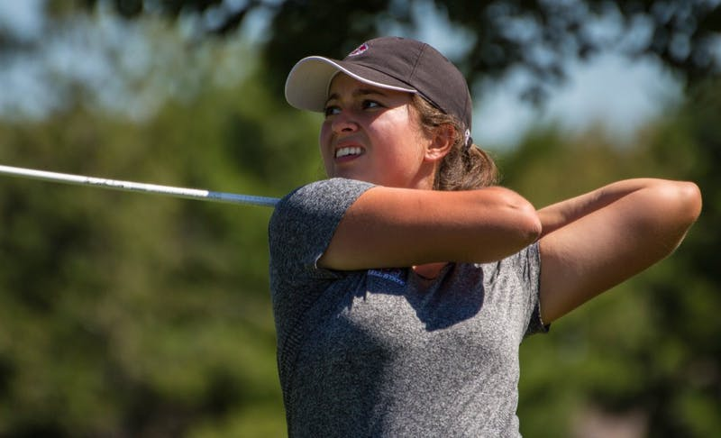 Manon Tounalom plays her second round on the opening day of the Cardinal Classic at the Player's Club on Sept. 19. The Ball State women's golf team played its way into fourth place behind defending champion Eastern Kentucky and Toledo and Western Michigan in a tie for second. Grace Ramey // DN