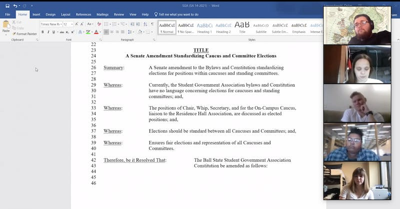 Ball State Student Government Association (SGA) senators discuss an amendment to standardize committee and caucus leadership elections at their Zoom meeting March 24, 2021. The amendment passed 37-0 with five abstentions. Grace McCormick, Screenshot Capture