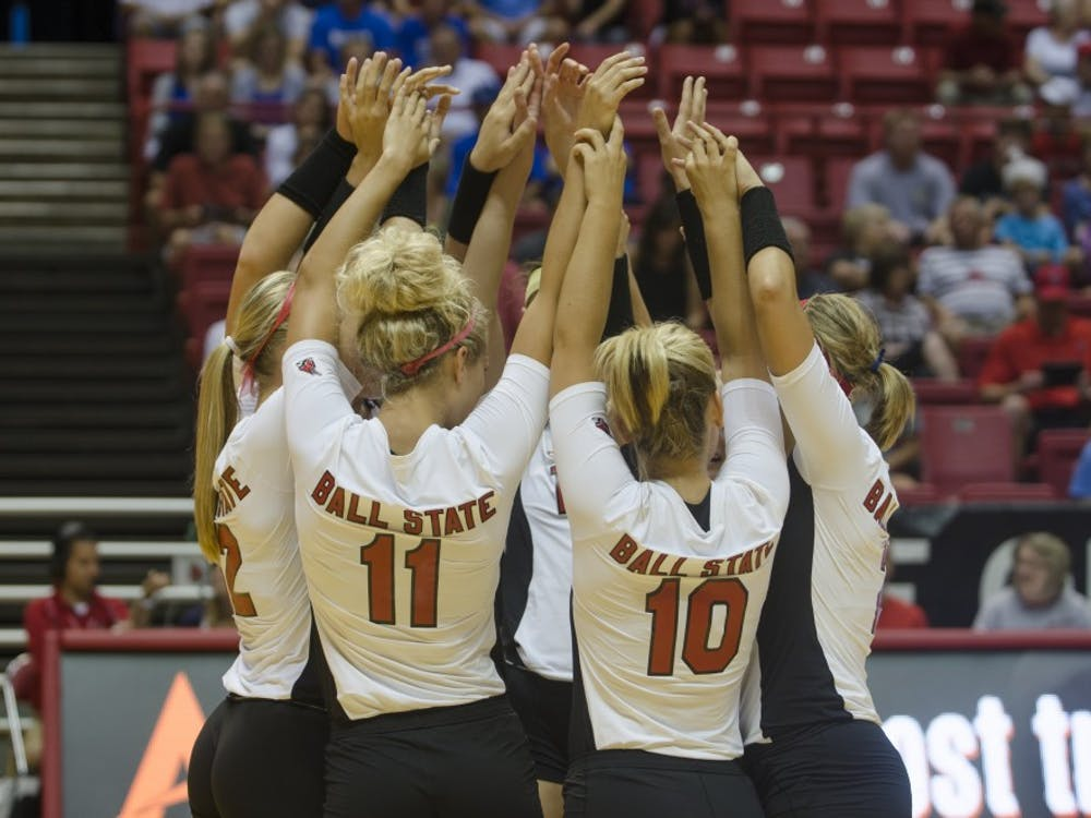 The women's volleyball team played against Western Illinois on Aug. 29 at Worthen Arena. Ball State won 3-0.