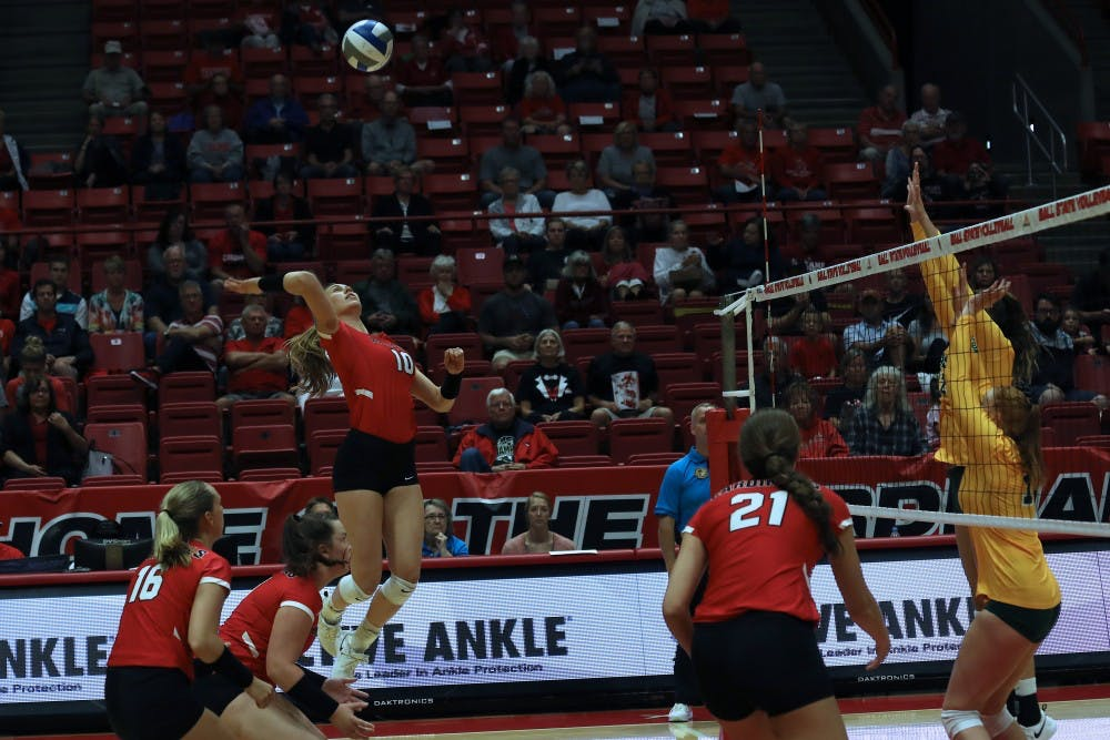 <p>Senior outside hitter Ellie Dunn spikes the volleyball over the net during the first set against North Dakota State University Friday, Sept.7, 2018 at Worthen Arena. Dunn had 18 kills overall. <strong>Rebecca Slezak,DN</strong></p>