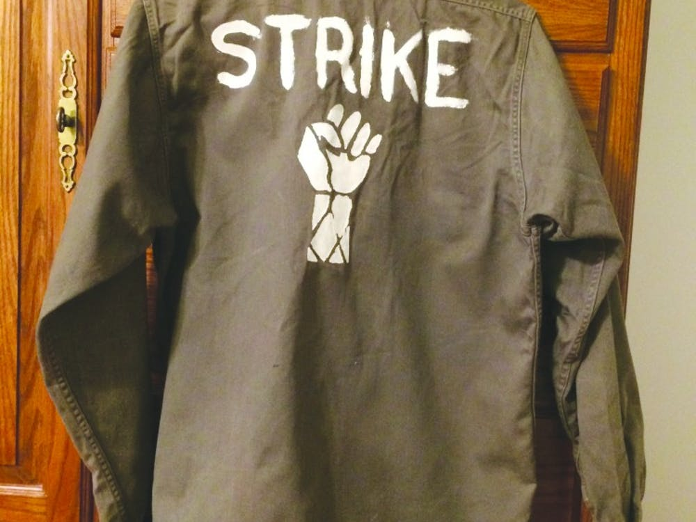 """Then-junior student and Ball State VMC president Mary Posner still has the 'strike' shirt she wore to the Vietnam """"teach-in"""" demonstration Ball State held in response to Kent State shootings on May 7, 1970. Photo provided, Mary Posner"""