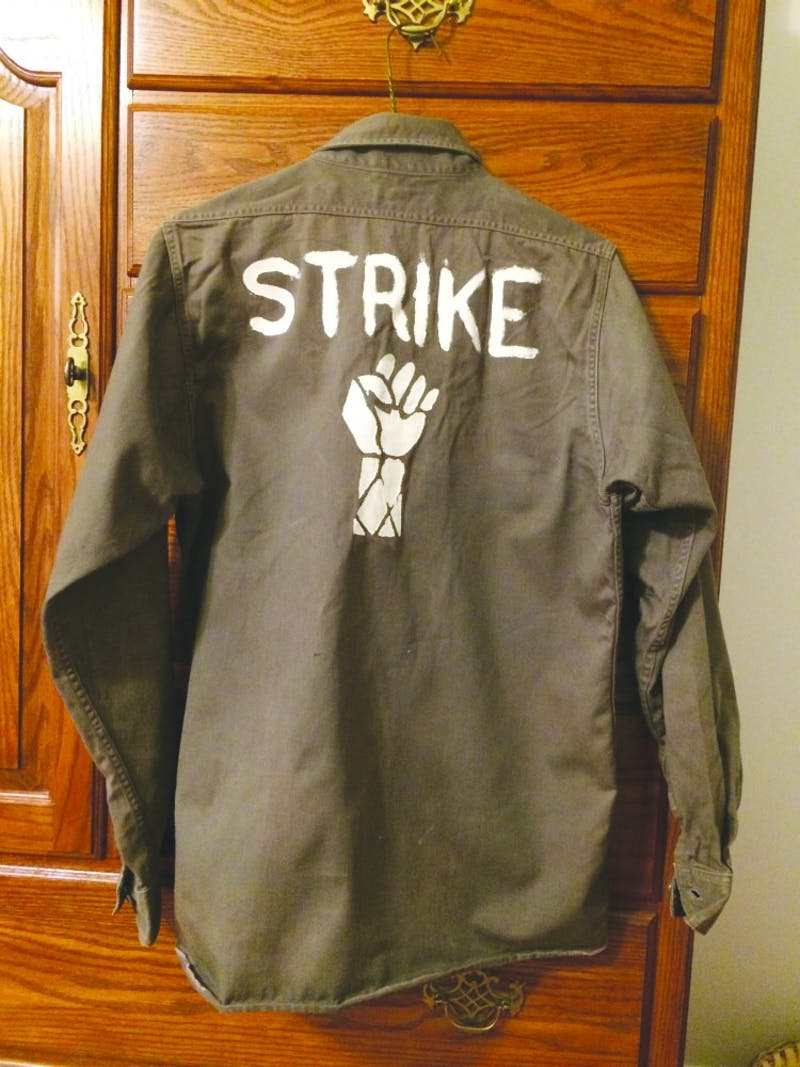 "Then-junior student and Ball State VMC president Mary Posner still has the 'strike' shirt she wore to the Vietnam ""teach-in"" demonstration Ball State held in response to Kent State shootings on May 7, 1970. Photo provided, Mary Posner"