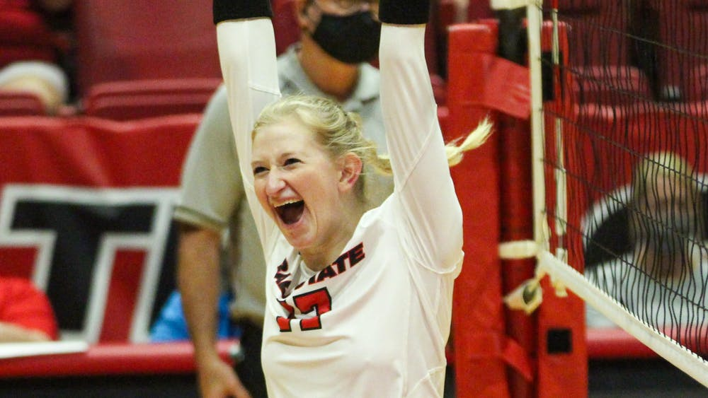 Ball State took a narrow win in 5 sets against Northern Kentucky in Worthen Arena Sept. 18. Jacy Bradley, DN