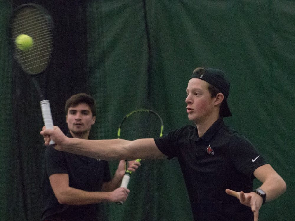 Junior Nemanja Guzina, left, and freshman Thibault de Negri, right, in a doubles match against IU Southeast at Northwest YMCA in Muncie, Ind. Feb. 3. Eric Pritchett, DN
