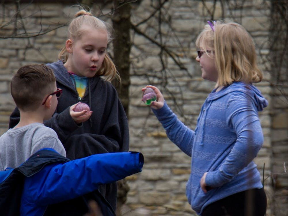 Muncie community members gather at Minnetrista for their Glass Easter Egg Hunt on March 31 to search for glass eggs and visit the candy-giving Easter Bunny. Participants could also purchase items from the Annual Spring Glass Sale in partnership with Ball State University Glass Alliance.