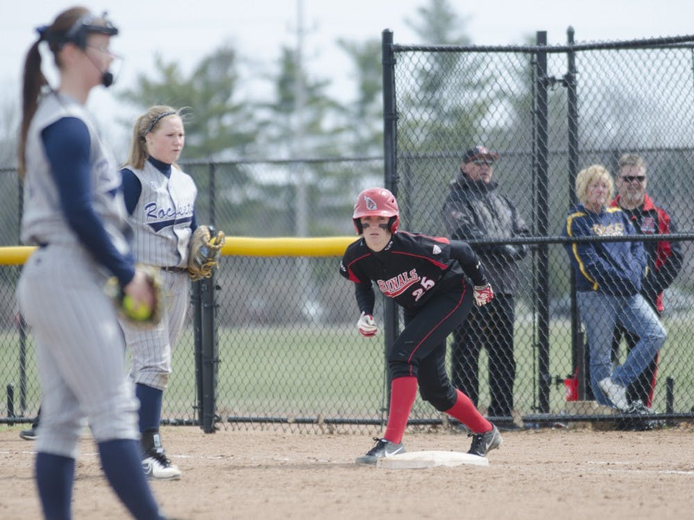 Former Ball State softball player Jennifer Gilbert watches the pitcher in the game against Toledo on April 6 at the Ball State Softball Complex. Gilbert was drafted to the Akron Racers. DN FILE PHOTO BREANNA DAUGHERTY