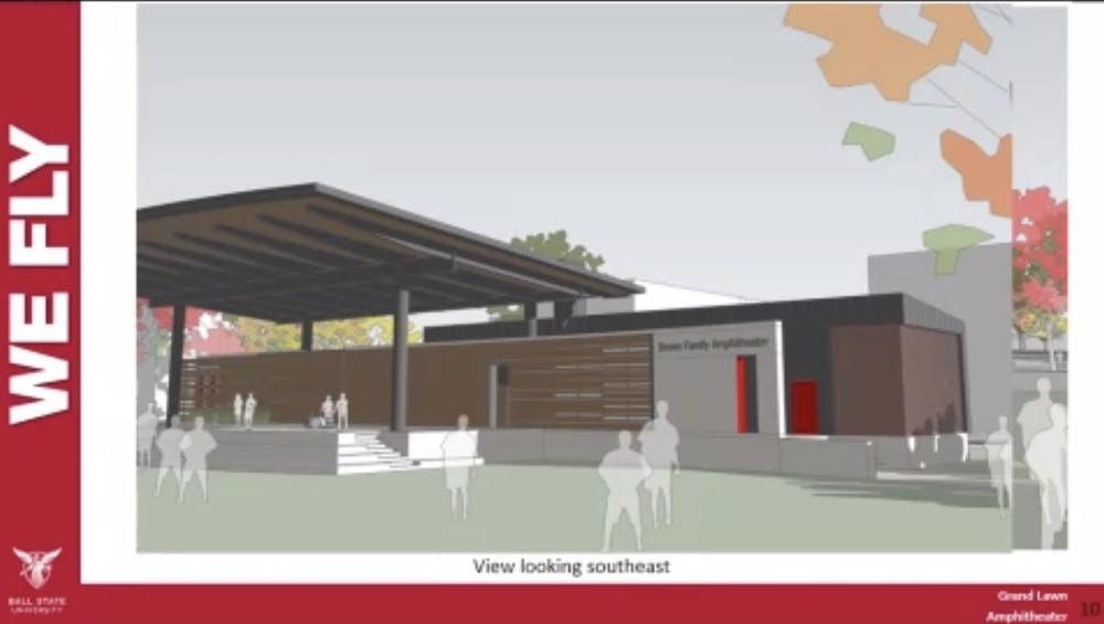 <p>Jim Lowe, associate vice president for facilities and planning management, presents a slide showing a sketch model of the Brown Family Amphitheater at the Board of Trustees virtual meeting Dec. 11, 2020. The board approved a $3.15 million budget for the amphitheater&#x27;s construction. <strong>Grace McCormick, Screenshot Capture</strong></p>